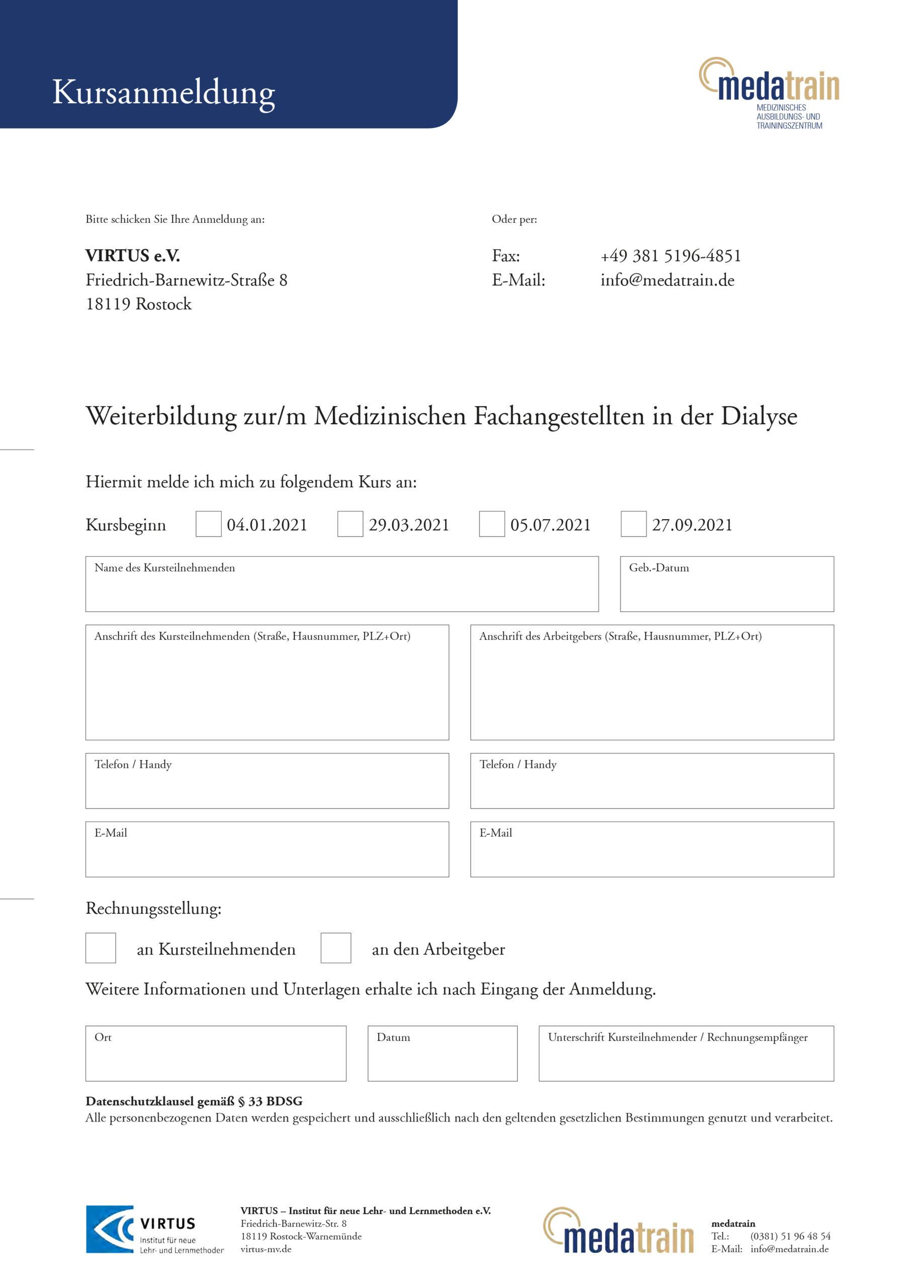 Anmeldeformular zur MFA Dialyse